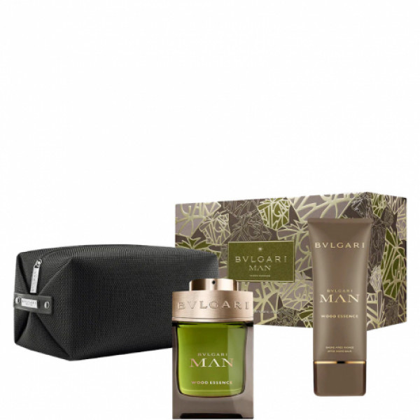 BULGARI MAN WOOD ESSENCE SET EAU DE PARFUM 100 ml, AFTER SHAVE BALM 100 ml, POCHETTE
